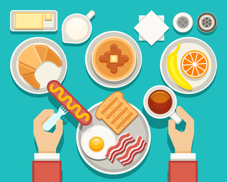 banana bread: Breakfast vector concept with fresh food and drinks top view. Composition breakfast bacon and fresh snack, breakfast food set illustration
