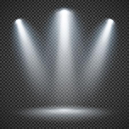 Scene illumination effects on checkered transparent background with bright lighting of spotlights Ilustração