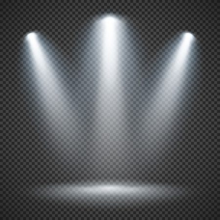 Scene illumination effects on checkered transparent background with bright lighting of spotlights Illustration