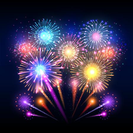 pyrotechnic: Festive vector background, poster with firework rockets bursting. Sparkling effect firework and pyrotechnic realistic firework explode illustration Illustration