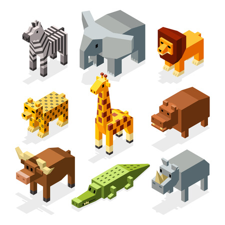 Cartoon 3D isometric african animals. Vector characters set. Animal wild safari, mammal giraffe in wildlife. Animal set illustration Vetores