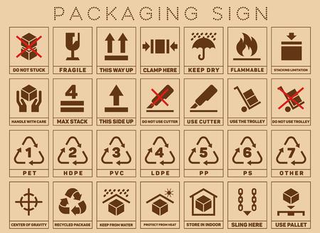 Verpakking tekens of verpakking symbolen. Verpakking symbool standaard en Care Pack. vector illustratie