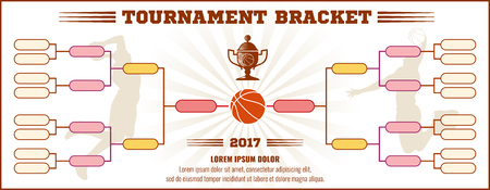 tournament bracket: Basketball tournament bracket vector mockup. Infographic bracket sport basketball, template tournament chart basketball illustration