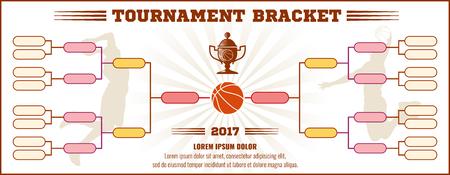 bracket: Basketball tournament bracket vector mockup. Infographic bracket sport basketball, template tournament chart basketball illustration
