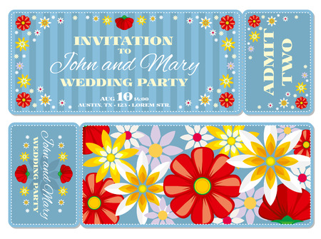 detachable: Retro boarding pass ticket wedding invitation template. Invitation ticket to wedding and vintage card pass wedding illustration