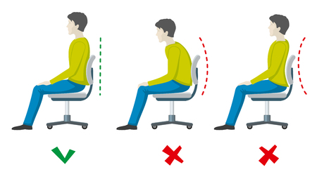 incorrect: Wrong and right spine sitting posture. Vector office health flat infographics. Body incorrect and correct, person sit correct or incorrect illustration
