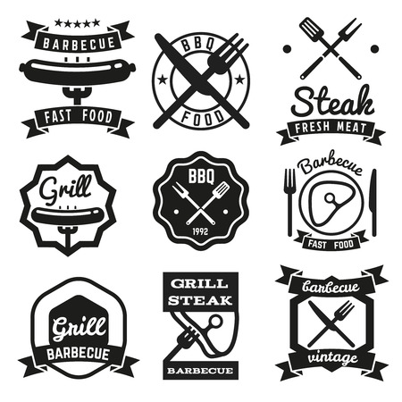 bbq background: Fast food vintage vector emblems, BBQ labels or barbecue logo set. Illustration