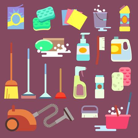 Equipos de Limpieza limpieza o la limpieza de iconos planos del servicio vector. Equipo para el trabajo doméstico ilustración vectorial de limpieza doméstica