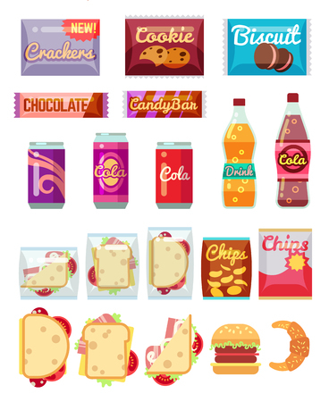 Vending machine products packaging. Fast food, snacks and drinks vector icons in flat style Vettoriali