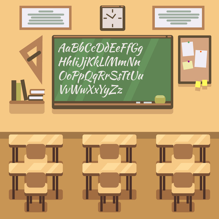 school classroom: School, university, institute, college classroom with chalkboard and desk. School classroom and lesson study classroom. Vector flat illustration Illustration