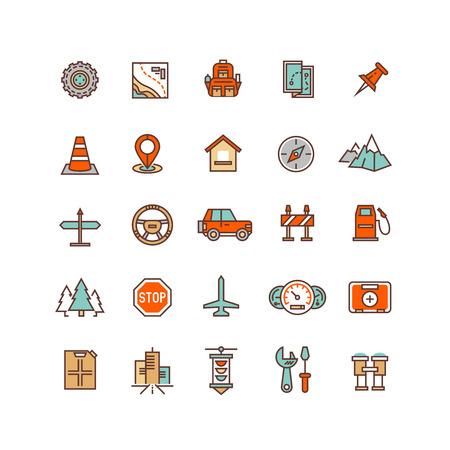 Wegverkeer plat vector iconen. Verkeer element van de set, te ondertekenen om het verkeer illustratie reizen