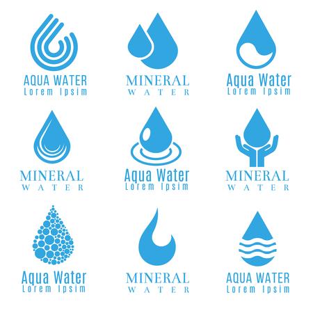 Blauw water druppel logo's, iconen vector set. Drop vloeibare logo en mineraalwater aqua daling illustratie