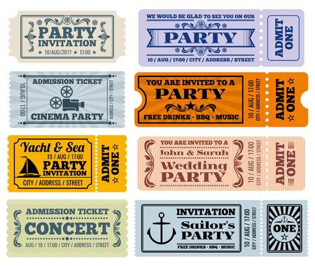 Entretenimiento, partido y el vector de entradas de cine de época y las plantillas de cupones. Boleto a la boda del partido y el billete para la ilustración de entretenimiento
