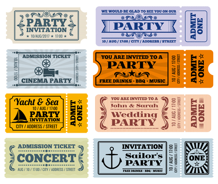Vermaak, partij en de bioscoop vector vintage tickets en coupons templates. Ticket to party bruiloft en ticket voor entertainment illustratie