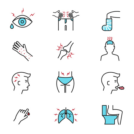 symptom: Illness and diseases symptoms vector outline icons with flat elements. Diagnosis symptom and unhealthy sickness influenza, symptom of diseases illustration Illustration