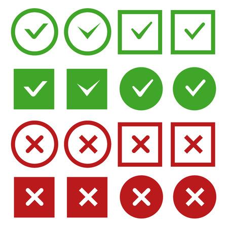 緑のチェック マークと赤ベクトル ボタンまたはアイコンを交差させます。署名なしとはいマークします。正しいと負のチェック マーク。ベクトル