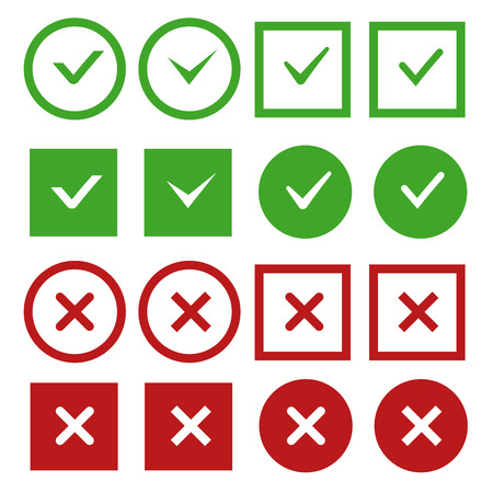 Green check marks and red crosses vector buttons or icons. Sign no and yes mark. Check mark correct and negative. Vector illustration