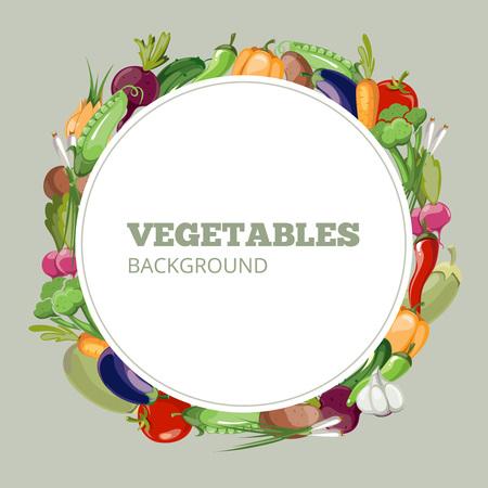 zanahoria caricatura: Menú con verduras. Emblema de vector para la tienda de tienda de comida sana orgánica o café vegetariano. Banner de verduras con pimienta y el rábano. Pepino y zanahoria vegetales menú de ilustración de la bandera Vectores