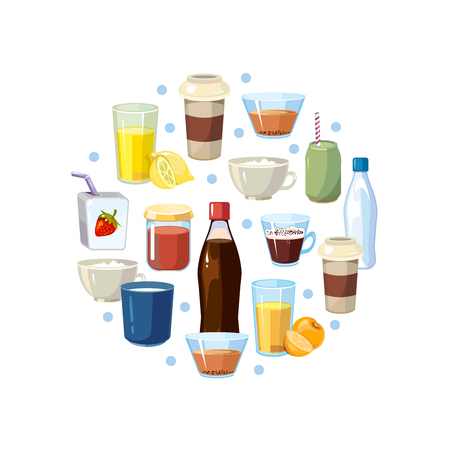 non alcoholic: Non alcoholic drinks vector concept in circle design. Non-alcoholic beverage and illustration composition with beverage soda in bottle and tasty lemonade