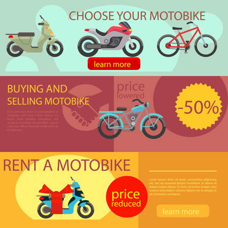 skidding: Motorcycles banners vector. Motorbike choose rent and buy banners
