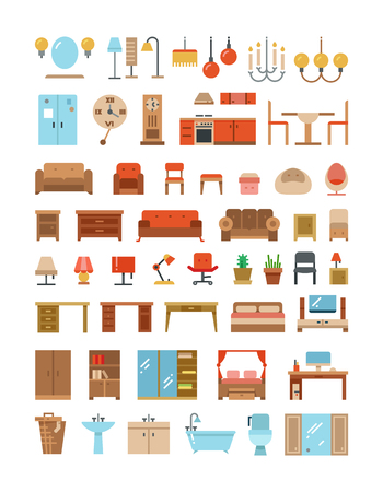 office furniture: Home and office furniture interiors flat icons set. Furniture for home and office, furniture table sofa and armchair. Vector illustration