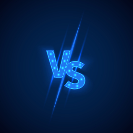 competitive: Blue neon versus logo vs letters for sports and fight competition. Battle vs match, game concept competitive vs. Vector illustration