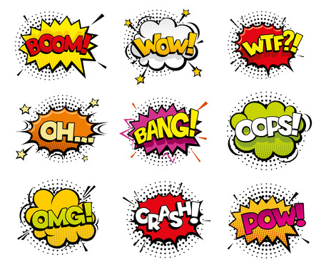 wtf: Comic sound effects in pop art vector style. Sound bubble speech with word and comic cartoon expression sounds illustration
