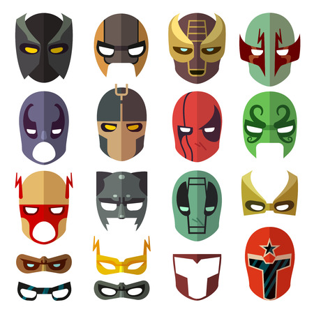 heroic: Superhero masks. Heroic costume mask of set and cartoon mask for superhero. Vector flat collection Illustration