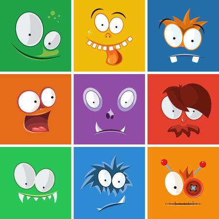 Dibujos animados caras divertidas con emociones. Monstruos conjunto de vectores de expresión. Expresión icono monstruo y emoción cara divertida del monstruo de carácter ilustración