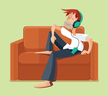 listen music: Man resting on sofa couch indoor and listening music. Listen music with headphone, resting with music on sofa. Vector illlustration