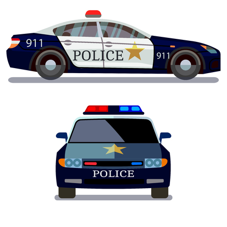 back view: Police vehicle on white background. Police car front and side view vector Illustration