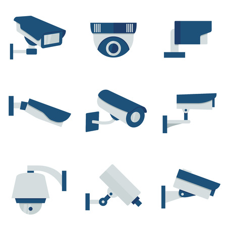 cctv security: CCTV security video camera vector flat icons set. Safety system cctv and surveillance with cctv for protection illustration Illustration