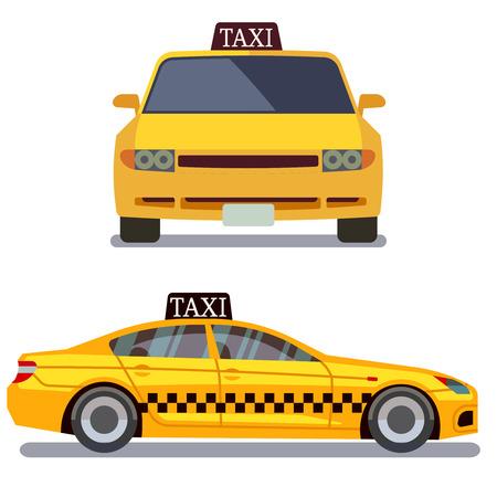 coche del taxi en blanco ilustración vectorial. Taxi coche vista frontal y lateral