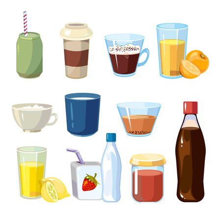 nonalcoholic: Non-alcoholic beverages vector set in cartoon style. Beverage of set drink and illustration non-alcoholic freshness beverage collection