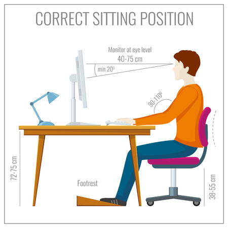 proper: Correct spine sitting posture at computer. Proper position correct and healthy spine position. Vector illustration infographics