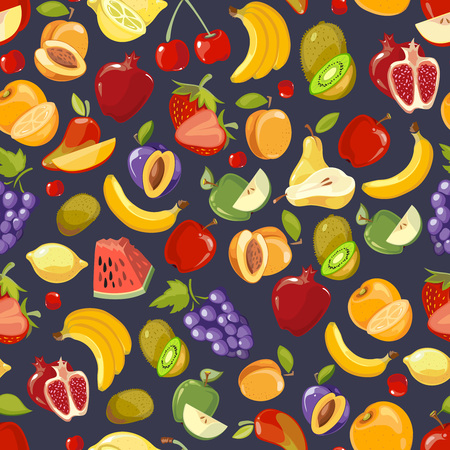 blackberry fruit: Vector seamless pattern with cute bright summer fruits. Grape and strawberry fruit. Blackberry and apple pattern from fruit illustration
