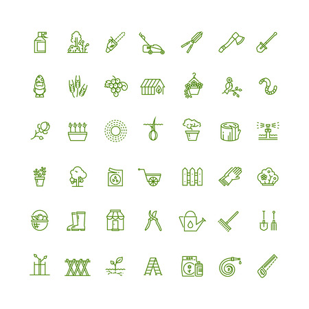 sprouting: Sprouting seeds and home gardening thin outline vector icons. Plant and gardening, tool rake or spade for gardening illustration