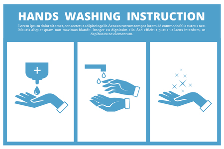 instruction: Hands washing medical instruction. Care to hygiene instruction and wash hand sanitary of instruction. Vector illustration