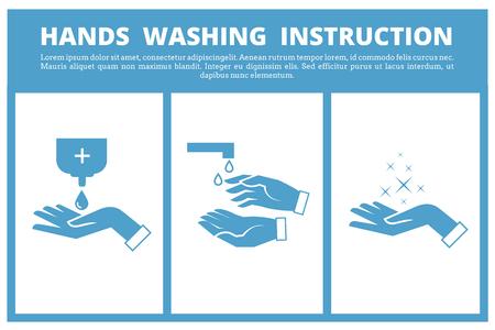 Le lavage des mains instruction médicale. Soins à l'enseignement de l'hygiène et laver sanitaire main d'instruction. Vector illustration Vecteurs