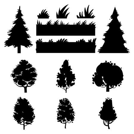 landscaped garden: Black trees and grass vector silhouettes on white background