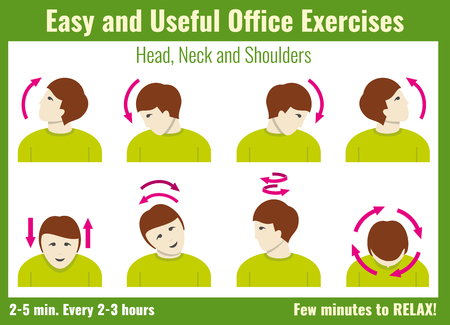 stretching exercise: Office syndrome infographic. Exercise for office work infographic, info about stretching exercise. Vector illustration health concept infographic