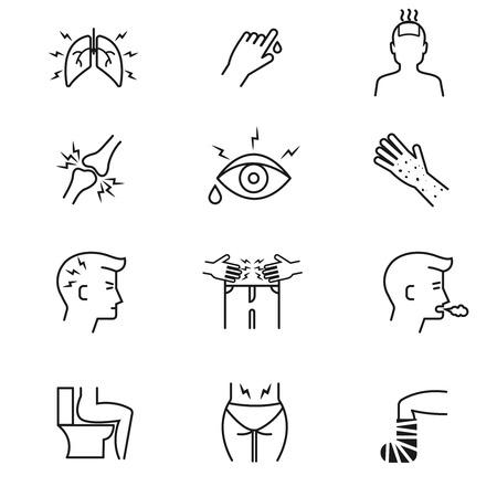 symptom: Human illness and diseases symptoms thin line vector icons set. Disease human symptom and medical symptoms illustration