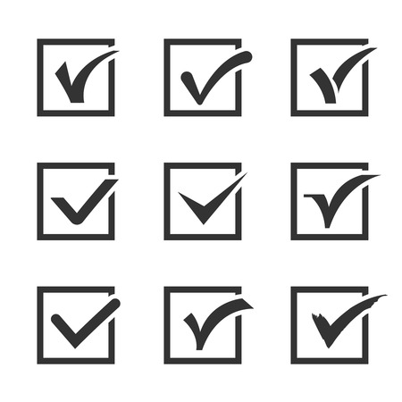 confirmation: Check marks, ticks in boxes confirmation, positive vector icons. Positive check choice and vote correct positive illustration