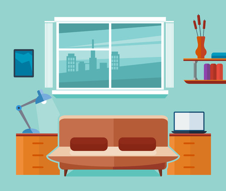 home office interior: Home office interior with sofa and laptop. Freelancer workplace. Interior room with laptop and sofa, work interior office space. Flat vector illustration Illustration