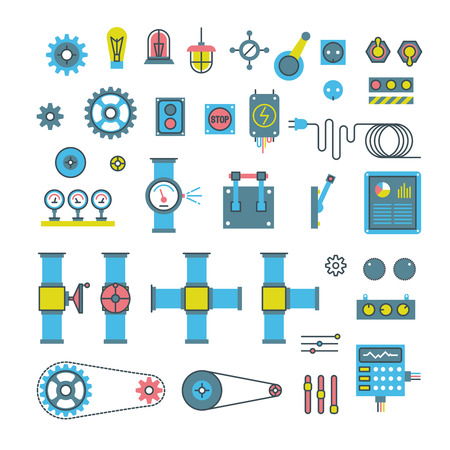 Machinery parts flat vector icons.