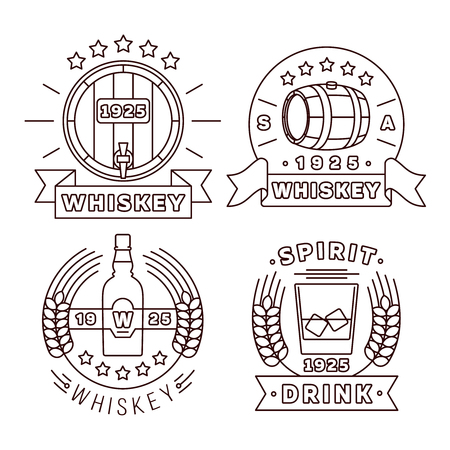 whisky: Illustration whisky logo set in thin line style. Illustration