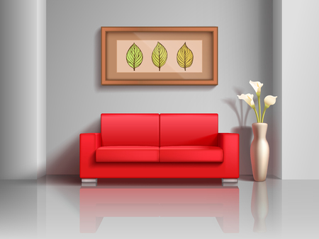 modern apartment: Realistic red sofa and flowerpot in living room interior. Modern realistic interior apartment with furniture comfortable sofa. Vector illustration Illustration