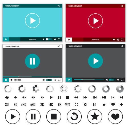 player controls: Media players with video controls buttons set. Set of interface player with button control and web video player. Vector illustration Illustration
