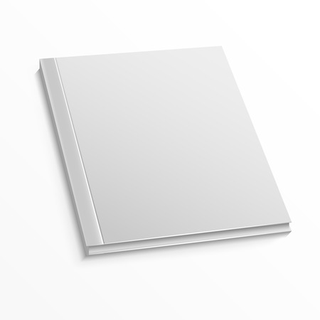 hard cover: Blank magazine cover template on white background. Mockup for book or magazine, blank mockup with hard cover for catalog and booklet. Vector illustration mock up