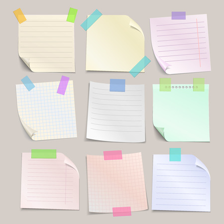 pasted: Stick note papers vector set. Collection of paper note with line and cell. Square paper sheet for reminder notice illustration